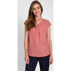 Bluzki damskie: Brudnoróżowa bluzka w złote liście QUIOSQUE