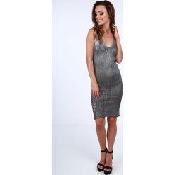 Sukienka metalizowana na ramiączkach czarna 3970. Białe sukienki marki Fasardi, l. Za 49,00 zł.