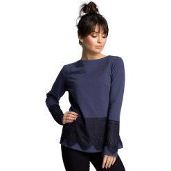 Niebieska Klasyczna Bluzka z Koronką. Niebieskie bluzki asymetryczne Molly.pl, l, w koronkowe wzory, z jeansu, eleganckie, z dekoltem w łódkę. Za 115,90 zł.