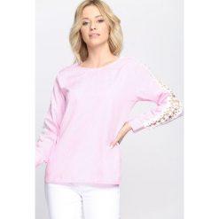 Bluzki damskie: Różowa Bluzka Lace Sleeve