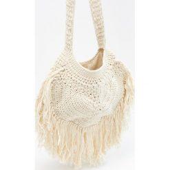 Torebki klasyczne damskie: Pleciona torba z bawełny – Kremowy