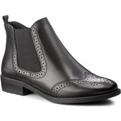 Botki TAMARIS - 1-25493-29 Black Leather 003. Czarne botki damskie na obcasie marki Tamaris, z materiału. W wyprzedaży za 209,00 zł.