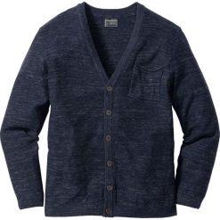 Swetry męskie: Kardigan z dzianiny o gładkim splocie Regular Fit bonprix ciemnoniebieski melanż