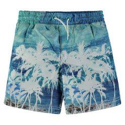 Szorty kąpielowe w kolorze niebiesko-turkusowym. Niebieskie kąpielówki chłopięce marki Kanz, z nadrukiem. W wyprzedaży za 49,95 zł.