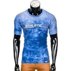 T-shirty męskie: T-SHIRT MĘSKI Z NADRUKIEM S851 - NIEBIESKI