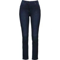 """Dżinsy """"mega-stretch"""" z ozdobnymi  kamieniami bonprix ciemnoniebieski """"stone"""". Niebieskie jeansy damskie marki bonprix, z nadrukiem. Za 109,99 zł."""