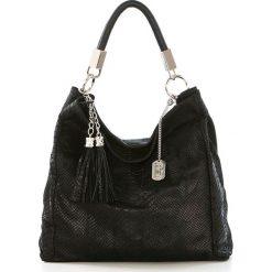 Torebki klasyczne damskie: Skórzana torebka w kolorze czarnym – 38 x 36 x 14 cm