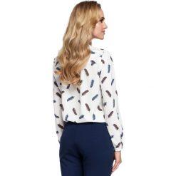 VIGNETTE Bluzka z dekoltem wzór w piórka - model 2. Niebieskie bluzki wizytowe marki ARTENGO, z elastanu, ze stójką. Za 129,99 zł.