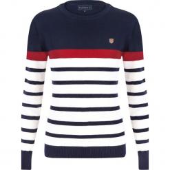 """Sweter """"Captain"""" w kolorze granatowo-kremowym. Białe swetry klasyczne damskie Sir Raymond Taylor, xs, z bawełny, z okrągłym kołnierzem. W wyprzedaży za 159,95 zł."""