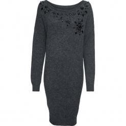 Sukienka dzianinowa bonprix ciemnoszary melanż. Szare sukienki dzianinowe marki bonprix, z aplikacjami, z okrągłym kołnierzem. Za 119,99 zł.