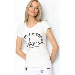 T-shirty damskie: Biały T-shirt Eiffel Tower