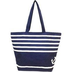 """Torba plażowa """"Bahia"""" w kolorze granatowo-białym - 35 x 58 x 23 cm. Niebieskie torby plażowe Le Comptoir de la Plage, z tworzywa sztucznego. W wyprzedaży za 38,95 zł."""