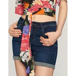 Szorty damskie: Jeansowe szorty z wysokim stanem – Granatowy