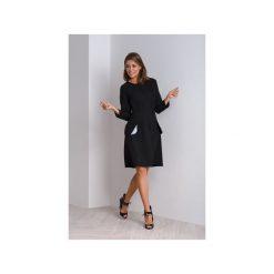 Sukienki: Czarna sukienka do biura z kontrafałdą NUBI