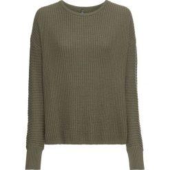 """Sweter dzianinowy bonprix zielono-szary """"used"""". Zielone swetry oversize damskie marki bonprix, z dzianiny. Za 119,99 zł."""