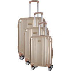 Zestaw walizek w kolorze beżowym - 3 szt. Brązowe walizki marki Travel One, z materiału. W wyprzedaży za 659,95 zł.