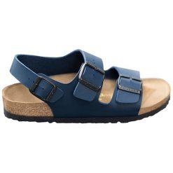 Sandały w kolorze granatowym. Niebieskie sandały męskie Birkenstock, z materiału, na płaskiej podeszwie. W wyprzedaży za 239,95 zł.