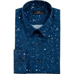Koszula MICHELE1A55 KDGE000067. Niebieskie koszule męskie na spinki marki bonprix, m, z nadrukiem, z klasycznym kołnierzykiem, z długim rękawem. Za 199,00 zł.