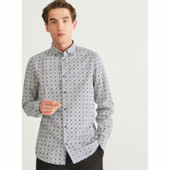 Wzorzysta koszula slim fit - Biały. Białe koszule męskie slim marki INESIS, m, z bawełny, z długim rękawem. Za 119,99 zł.