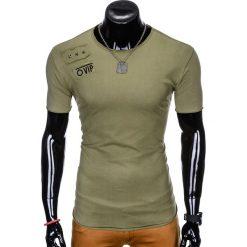 T-shirty męskie: T-SHIRT MĘSKI Z NADRUKIEM S957 - KHAKI