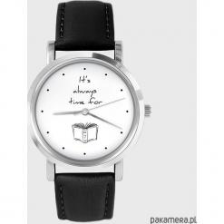Zegarek - Time for a book - czarny, skórzany. Czarne zegarki męskie Pakamera. Za 139,00 zł.