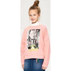 Bluzy dziewczęce: Bluza z gorsetowym wiązaniem - Pomarańczo