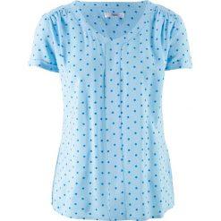 Tunika koszulowa, krótki rękaw bonprix jasnoniebiesko-lazurowy w kropki. Niebieskie tuniki damskie marki bonprix, z koszulowym kołnierzykiem, z krótkim rękawem. Za 37,99 zł.