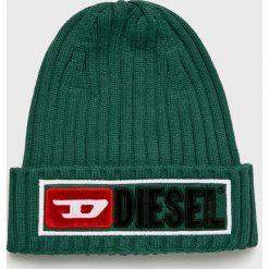 Diesel - Czapka. Szare czapki zimowe męskie Diesel, na zimę, z bawełny. Za 239,90 zł.