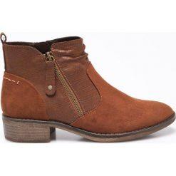 Jana - Botki. Brązowe buty zimowe damskie Jana, z materiału, na obcasie. W wyprzedaży za 129,90 zł.