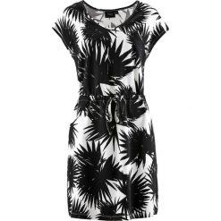 Sukienki: Sukienka ze stretchem, krótki rękaw bonprix czarno-biały z nadrukiem