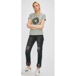 Converse - Top. Szare topy damskie Converse, l, z nadrukiem, z bawełny, z okrągłym kołnierzem. W wyprzedaży za 99,90 zł.