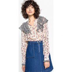 Bluzki asymetryczne: Bluzka kwiecista z falbanami z długim rękawem