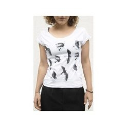 T-shirt JASKÓŁKI. Białe t-shirty damskie Dwie lewe ręce, l, z nadrukiem, z bawełny. Za 87,20 zł.
