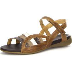 """Rzymianki damskie: Skórzane sandały """"Jaeh"""" w kolorze brązowym"""