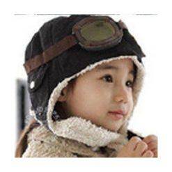 Czapka pilotka dla dzieci - czarna. Czarne czapeczki niemowlęce GiftWorld. Za 36,87 zł.