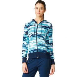 Bluzy rozpinane damskie: Adidas Bluza damska Essentials Hoody All Over Print niebieska r.  M (AY4877)