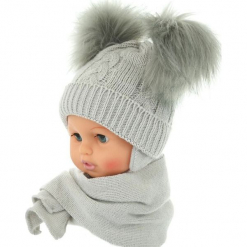 Czapka niemowlęca z szalikiem CZ+S 016D. Szare czapeczki niemowlęce Proman. Za 47,14 zł.