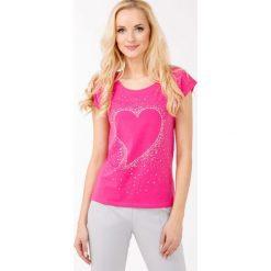 T-shirt z serduszkiem. Szare t-shirty damskie Monnari, z bawełny, z dekoltem na plecach. Za 39,96 zł.