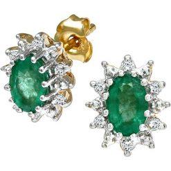 Kolczyki damskie: Złote kolczyki-wkrętki z diamentami i szmaragdami