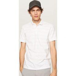 Koszule męskie na spinki: Koszula polo w paski – Biały