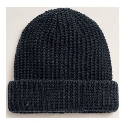 Mango Man - Czapka Beanie. Czarne czapki zimowe męskie Mango Man, z bawełny. Za 69,90 zł.