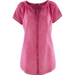 """Bluzka bawełniana """"cold-dyed"""", krótki rękaw bonprix średni różowy. Fioletowe bluzki asymetryczne bonprix, z bawełny, z krótkim rękawem. Za 69,99 zł."""