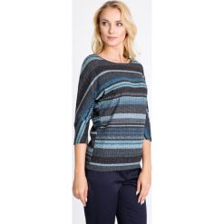 Bluzki damskie: Granatowa bluzka w niebieskie paski QUIOSQUE
