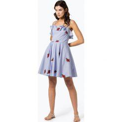 Guess Jeans - Sukienka damska, niebieski. Szare sukienki na komunię marki Guess Jeans, na co dzień, l, z aplikacjami, z bawełny, casualowe, z okrągłym kołnierzem, mini, dopasowane. Za 279,95 zł.