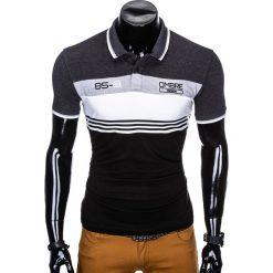 KOSZULKA MĘSKA POLO BEZ NADRUKU S913 - GRAFITOWA. Czarne koszulki polo marki Ombre Clothing, m, z bawełny, z kapturem. Za 49,00 zł.