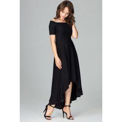 Sukienka asymetryczna bez ramion k485. Czarne sukienki asymetryczne Global, s, z materiału, wizytowe, z asymetrycznym kołnierzem. Za 179,00 zł.