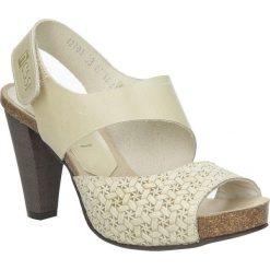 Beżowe sandały skórzane na słupku Nessi 42103. Czarne sandały damskie na słupku marki Nessi, z materiału. Za 208,99 zł.