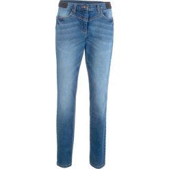"""Jeansy damskie: Dżinsy modelujące sylwetkę z wstawką w prążek z boku w talii bonprix niebieski """"stone"""""""