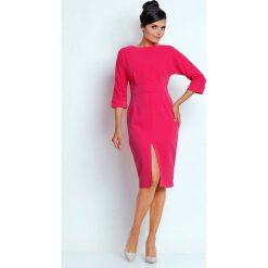 """Różowa Dopasowana Sukienka z Dekoltem """"V"""" na Plecach. Czarne sukienki asymetryczne marki bonprix, do pracy, w paski, biznesowe, moda ciążowa. W wyprzedaży za 110,58 zł."""