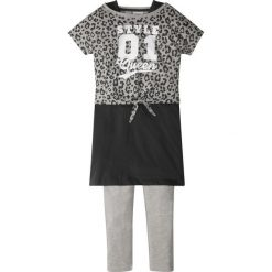 """Shirt """"boxy"""" + sukienka + legginsy (3 części) bonprix jasnoszary melanż - czarny. Fioletowe legginsy dziewczęce marki bonprix, na ramiączkach. Za 49,99 zł."""
